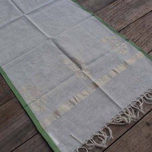 White Pure Cotton Real Zari Banarasi Handloom Stole