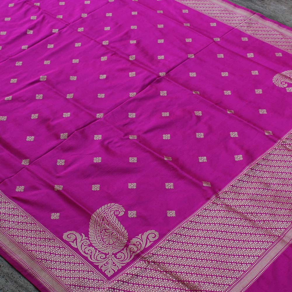 Gulabi Pink Pure Katan Silk Dupatta & Beige Pure Silk by Cotton Fabric