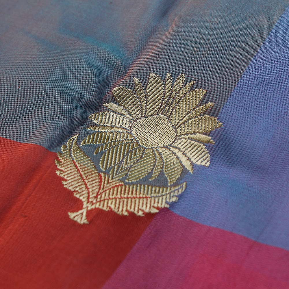 Multicoloured Pure Katan Silk Dupatta & Beige Pure Silk by Cotton Fabric