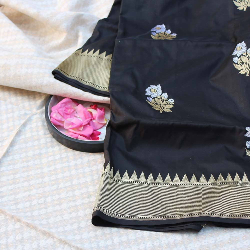 Black Pure Katan Silk Dupatta & White Pure Silk by Cotton Fabric