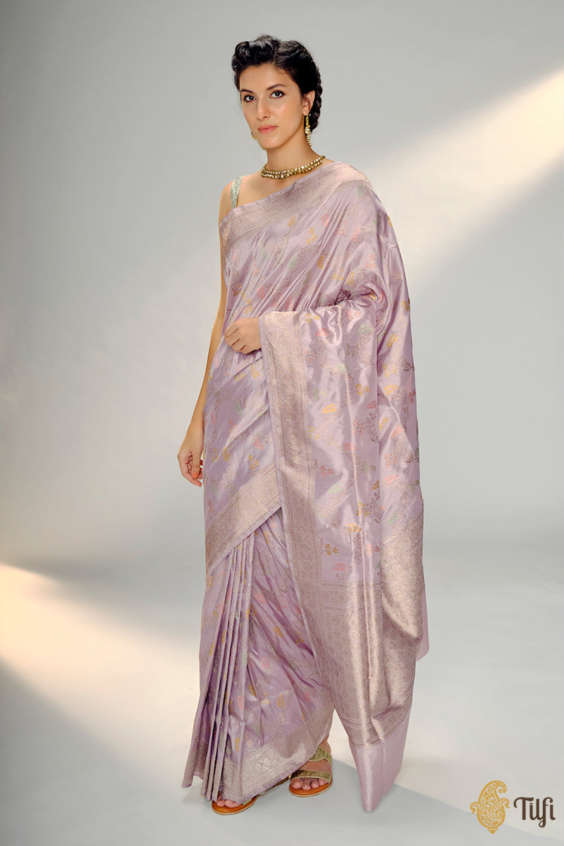 Light Mauve Lilac Pure Katan Silk Banarasi Handloom Saree