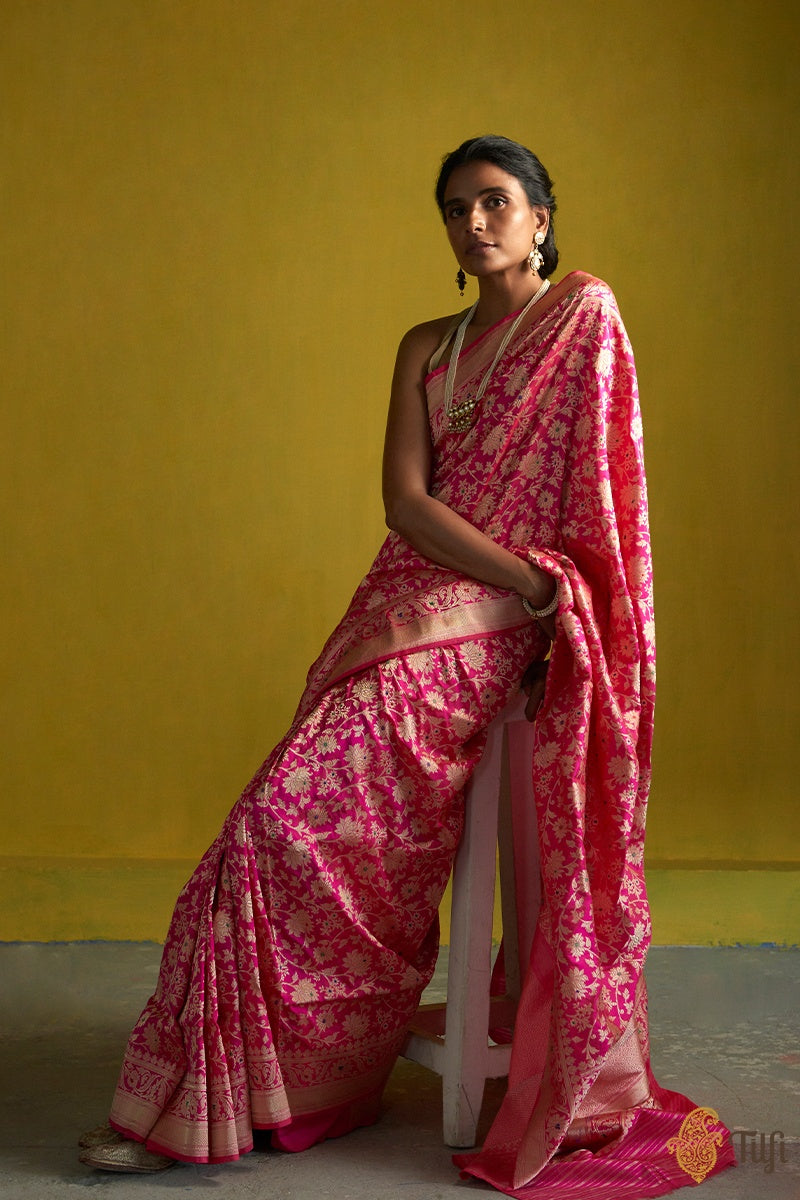 Pre-Order: Strawberry-Rani Pink Pure Katan Silk Banarasi Handloom Saree