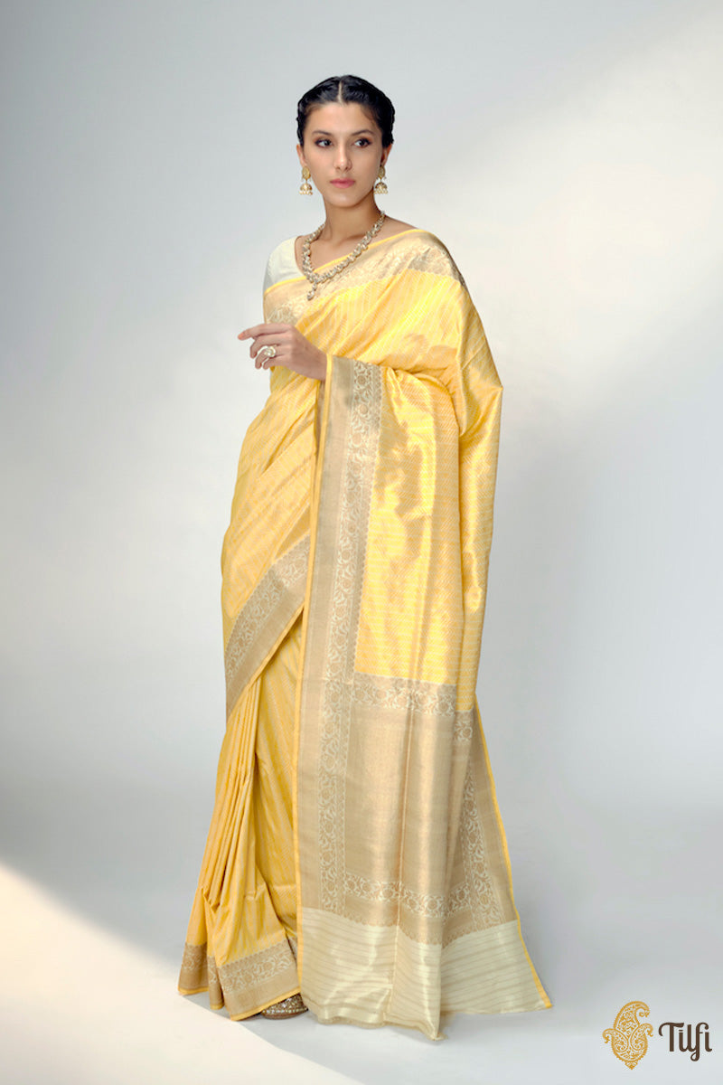 Pre-Order: Off-White - Yellow Pure Katan Silk Banarasi Handloom Saree