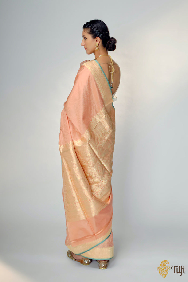 Peach Pure Soft Satin Silk Banarasi Handloom Saree