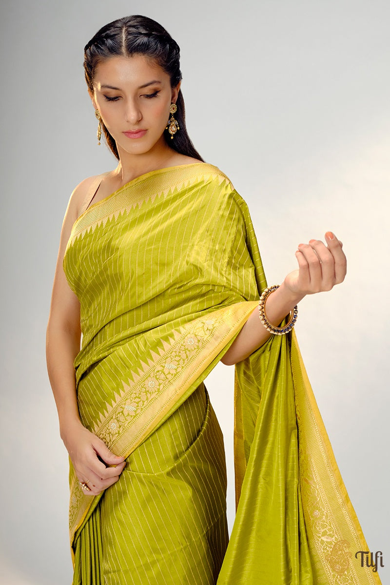 Pear Green Pure Katan Silk Banarasi Handloom Saree