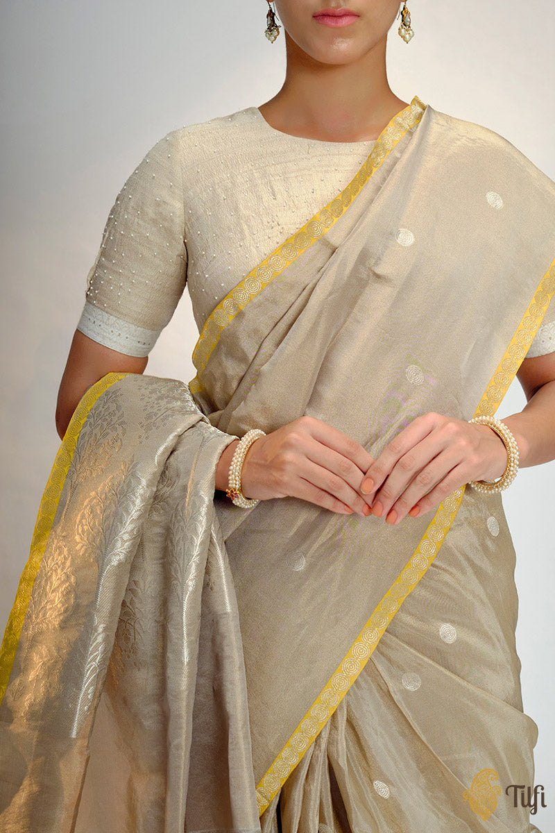 Grey Pure Katan Silk Tissue Banarasi Handloom Saree