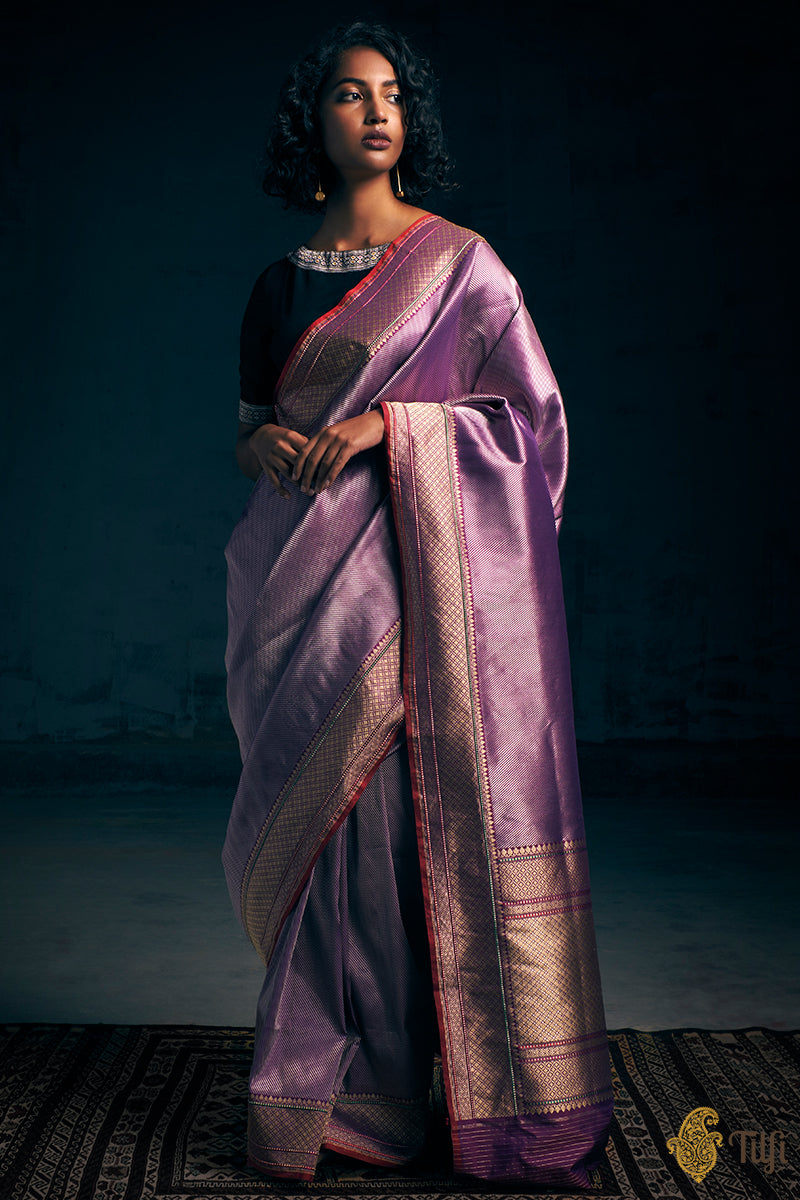 Purple-Coke Brown Pure Katan Silk Banarasi Handloom Saree