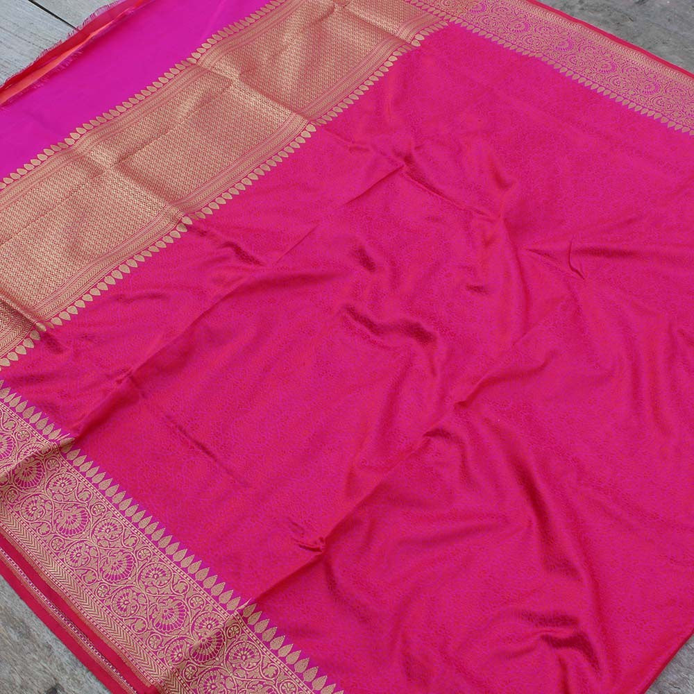 Red-Rani Pink Pure Katan Silk Dupatta & Beige Pure Soft Satin Silk Fabric