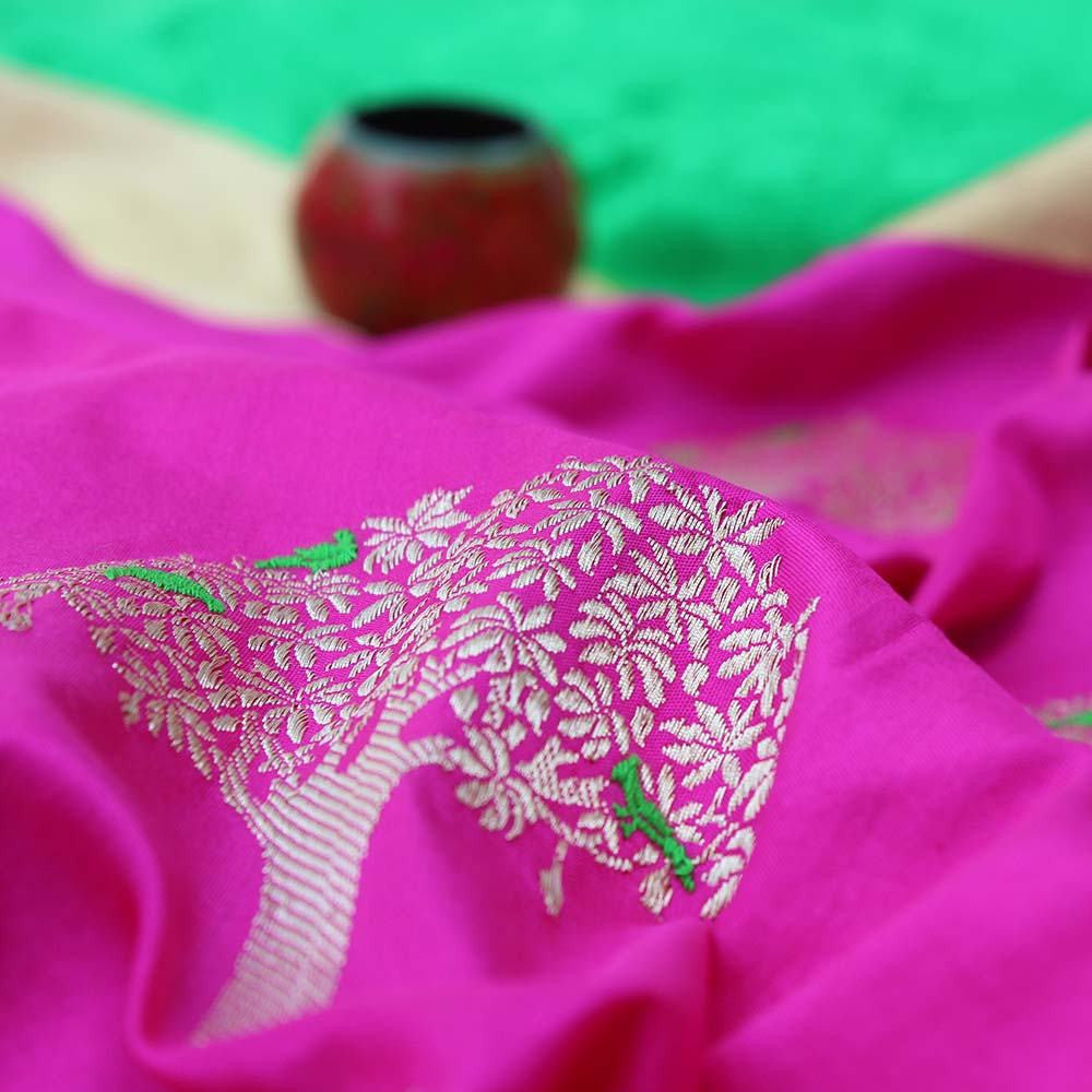 Pink Pure Katan Silk Dupatta & Green Pure Soft Satin Silk Fabric