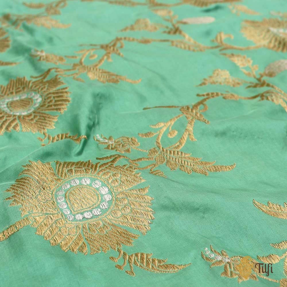 Aqua Green Pure Katan Silk Jangla Dupatta & Yellow-Pink Pure Katan Silk Fabric