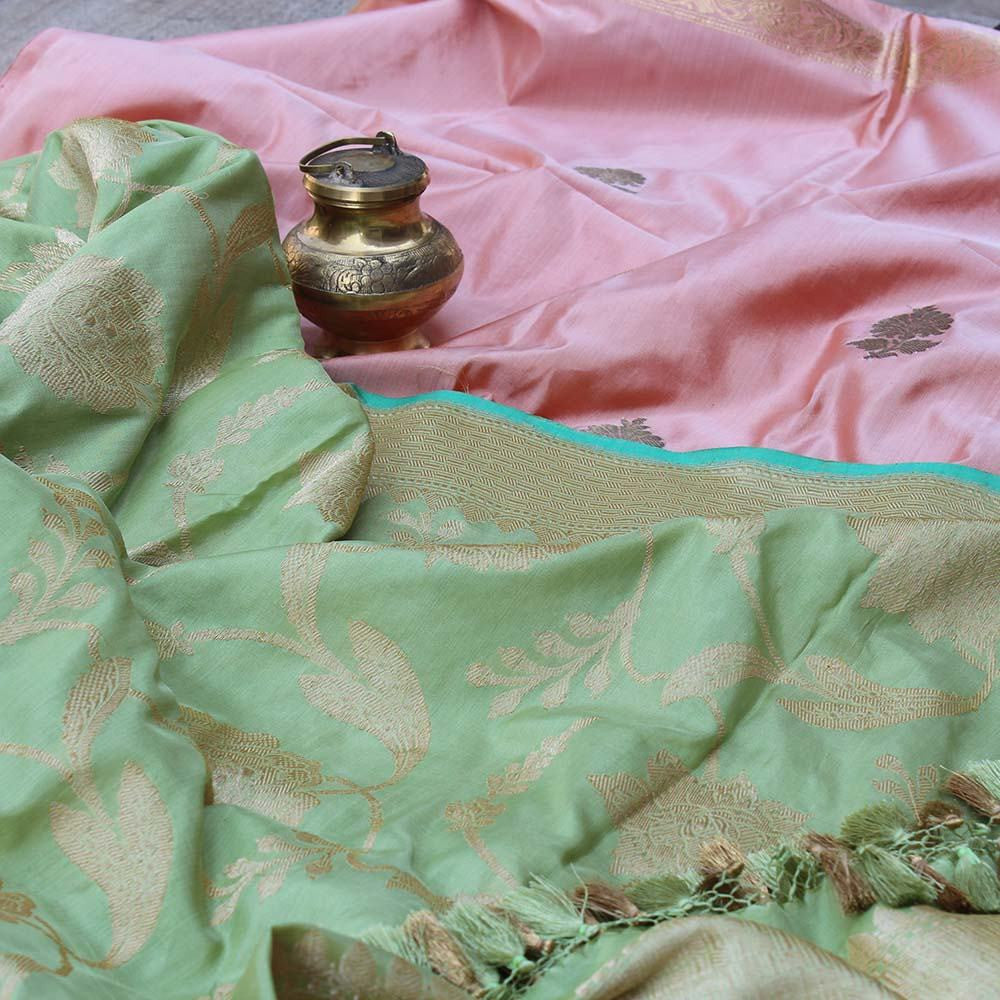 Light Pista Green Pure Katan Silk Dupatta & Peach Pure Katan Silk Fabric