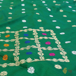 Green Pure Katan Silk Dupatta Fabric Set