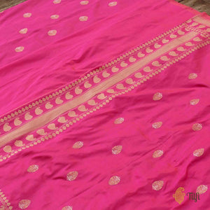 Peach-Gulabi Pink Pure Katan Silk Dupatta Fabric Set