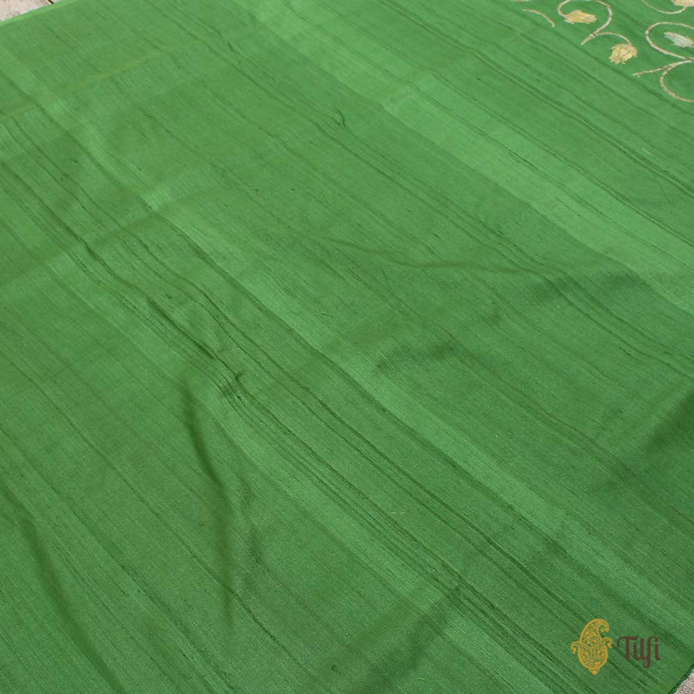 Off-White Pure Silk Georgette Dupatta & Green Pure Tussar Silk Fabric Set