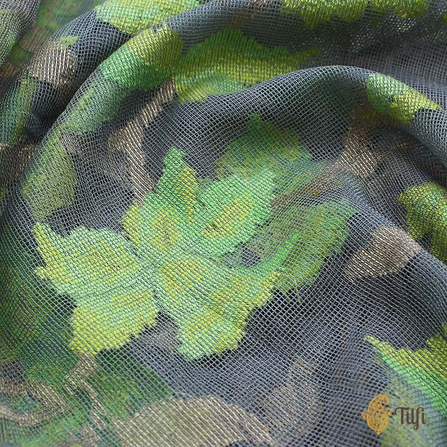 Green Pure Kora Net Dupatta & Grey-Green Pure Kora Net Fabric Set