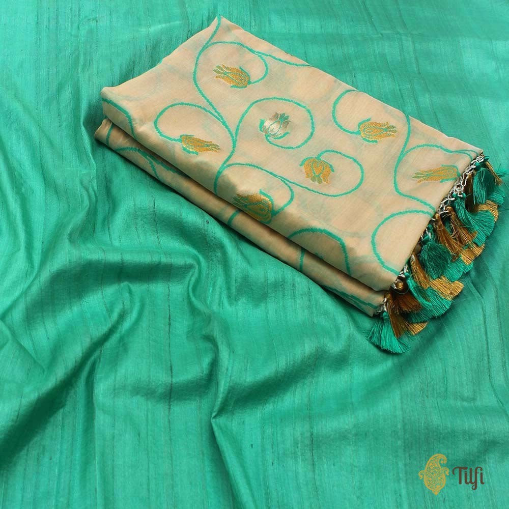 Off-White Pure Silk Georgette Dupatta & Aqua Green Pure Tussar Silk Fabric Set