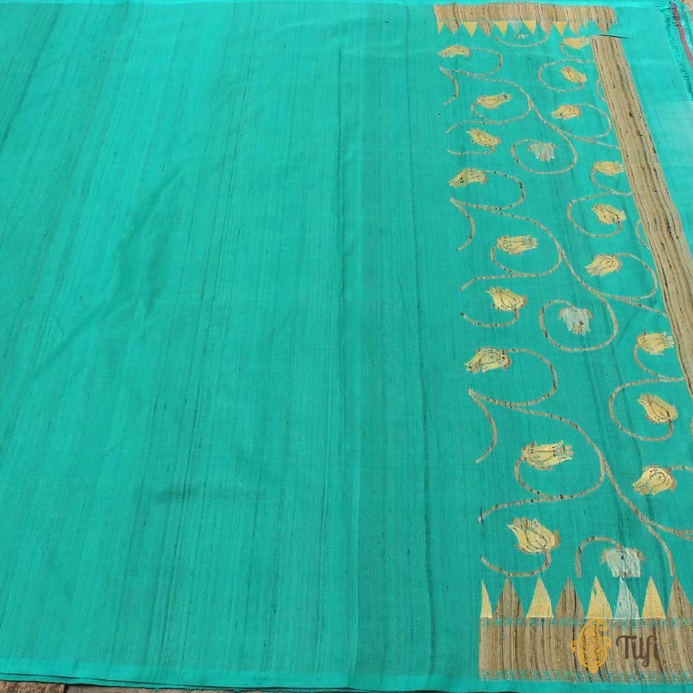 Off-White Pure Silk Georgette Dupatta & Turquoise Blue Pure Tussar Silk Fabric Set
