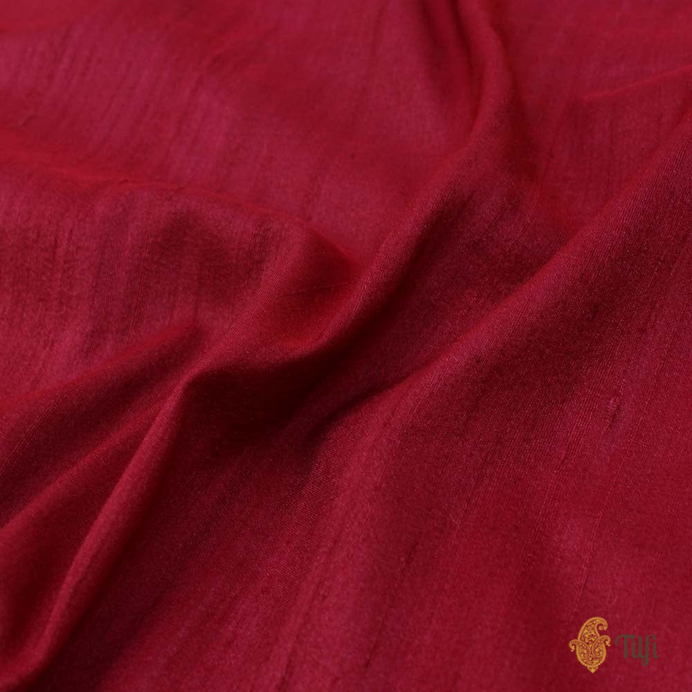Off-White Pure Silk Georgette Dupatta & Maroon Pure Tussar Silk Fabric Set