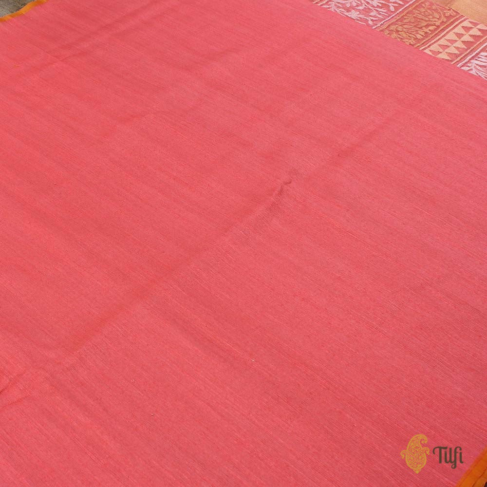 Coral Pink Pure Kora Net Dupatta & Coral Pink Pure Tussar by Kora Net Fabric Set