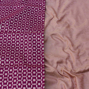 Magenta Pure Silk Georgette Dupatta & Camel Pure Soft Satin Silk Fabric