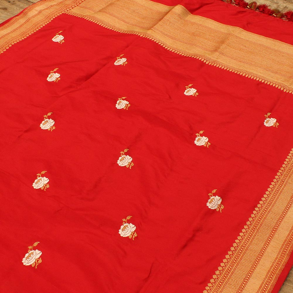 Red Pure Katan Silk Dupatta & Black Pure Katan Silk Tanchoi Fabric Set
