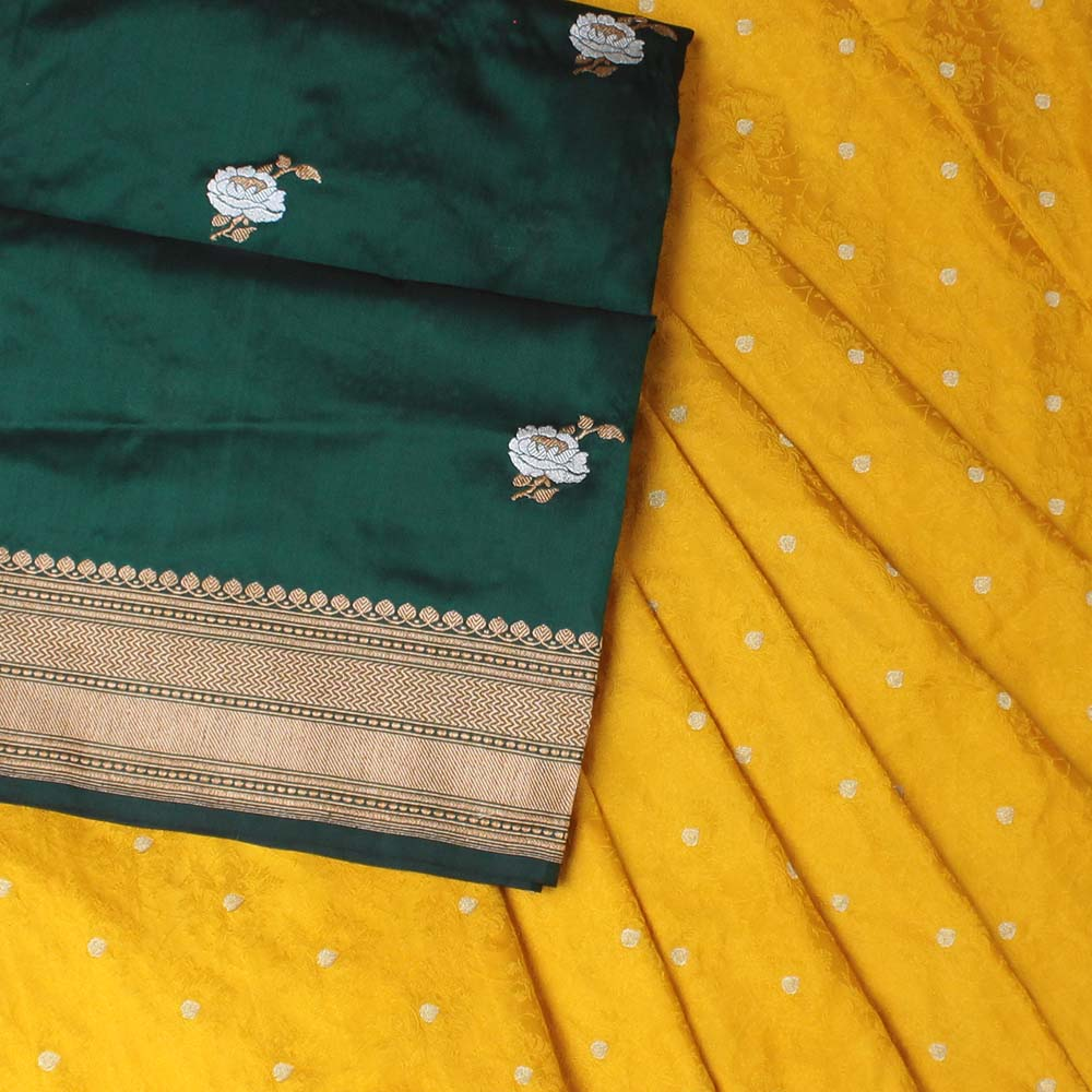 Bottle Green Pure Katan Silk Dupatta & Mustard Pure Katan Silk Tanchoi Fabric Set