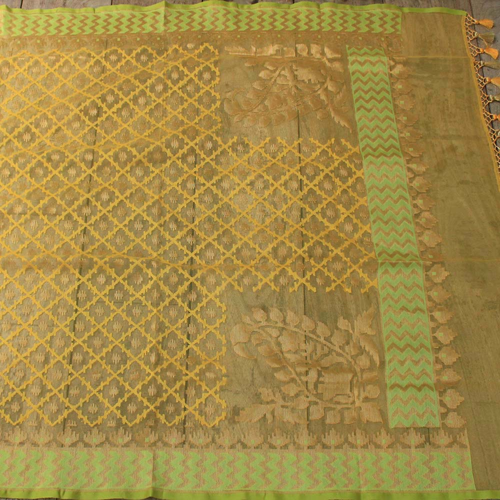 Yellow Pure Kora Net Dupatta & Green Pure Dupion Silk Net Fabric Set