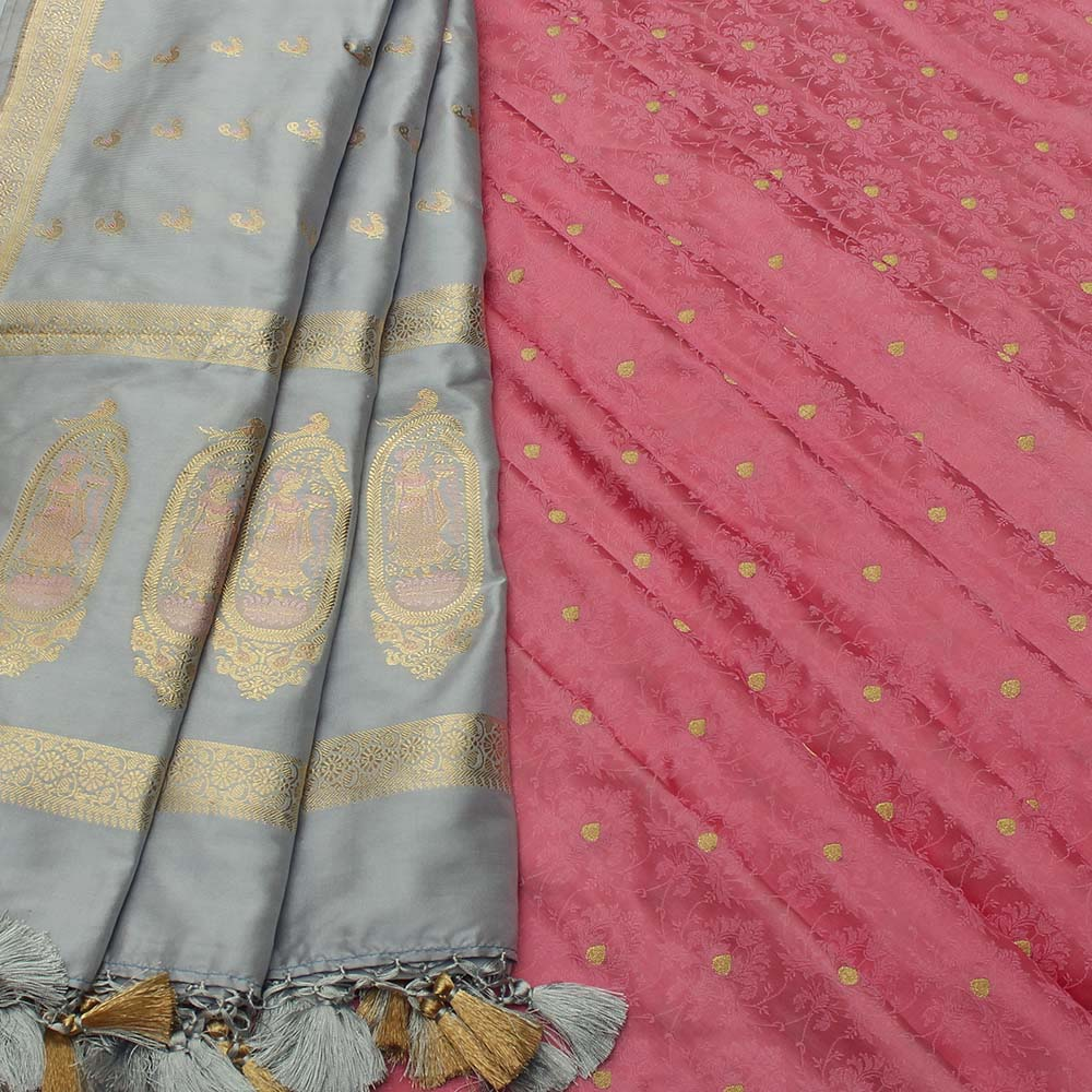 Powder Blue Pure Katan Silk Dupatta & Taffy Pink Pure Katan Silk Tanchoi Fabric Set