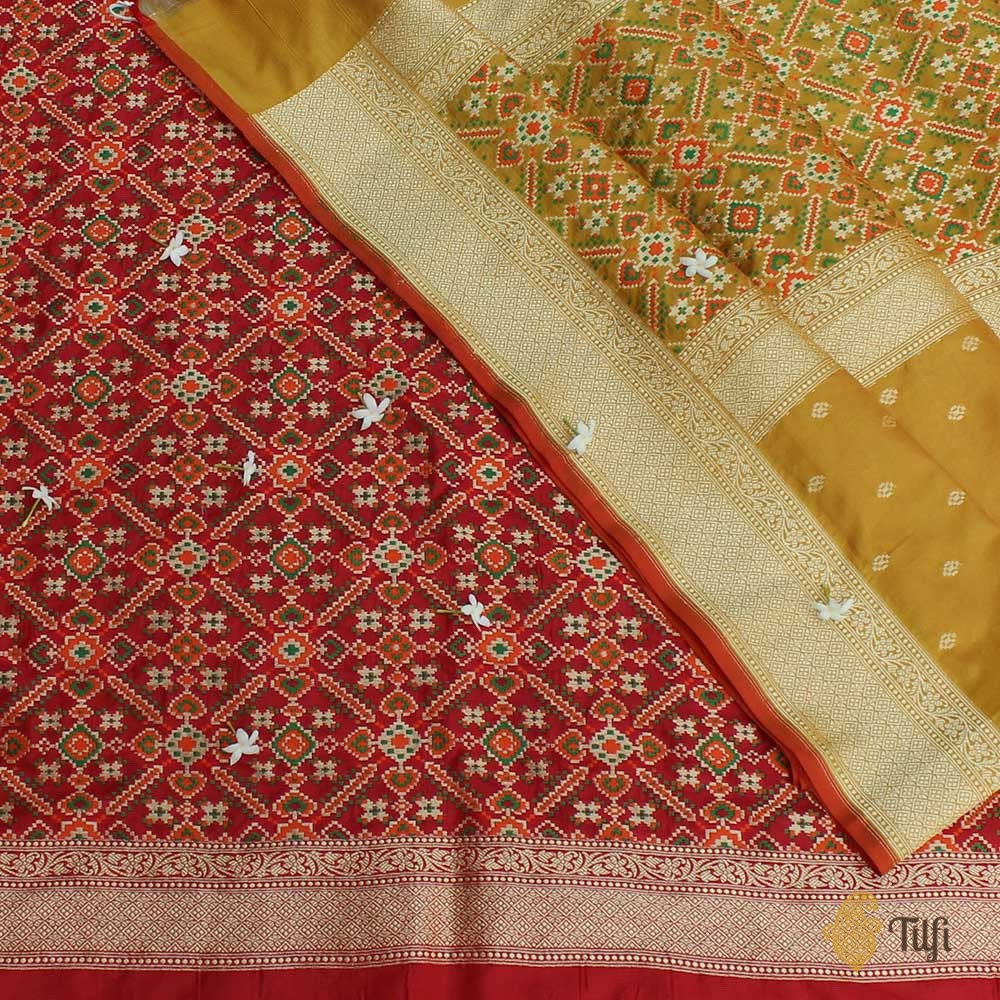 Red-Mustard Pure Katan Silk Dupatta Fabric Set