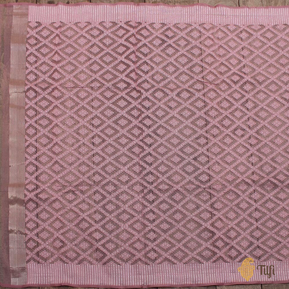 Light Old Rose Pink Pure Kora Silk Net Dupatta & Fabric Set
