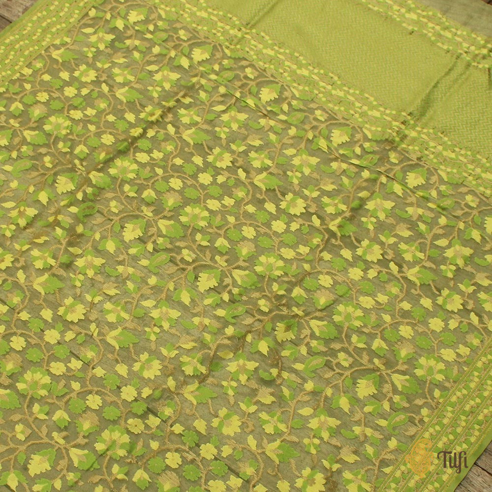 Green Pure Kora Silk Net Dupatta & Fabric Set