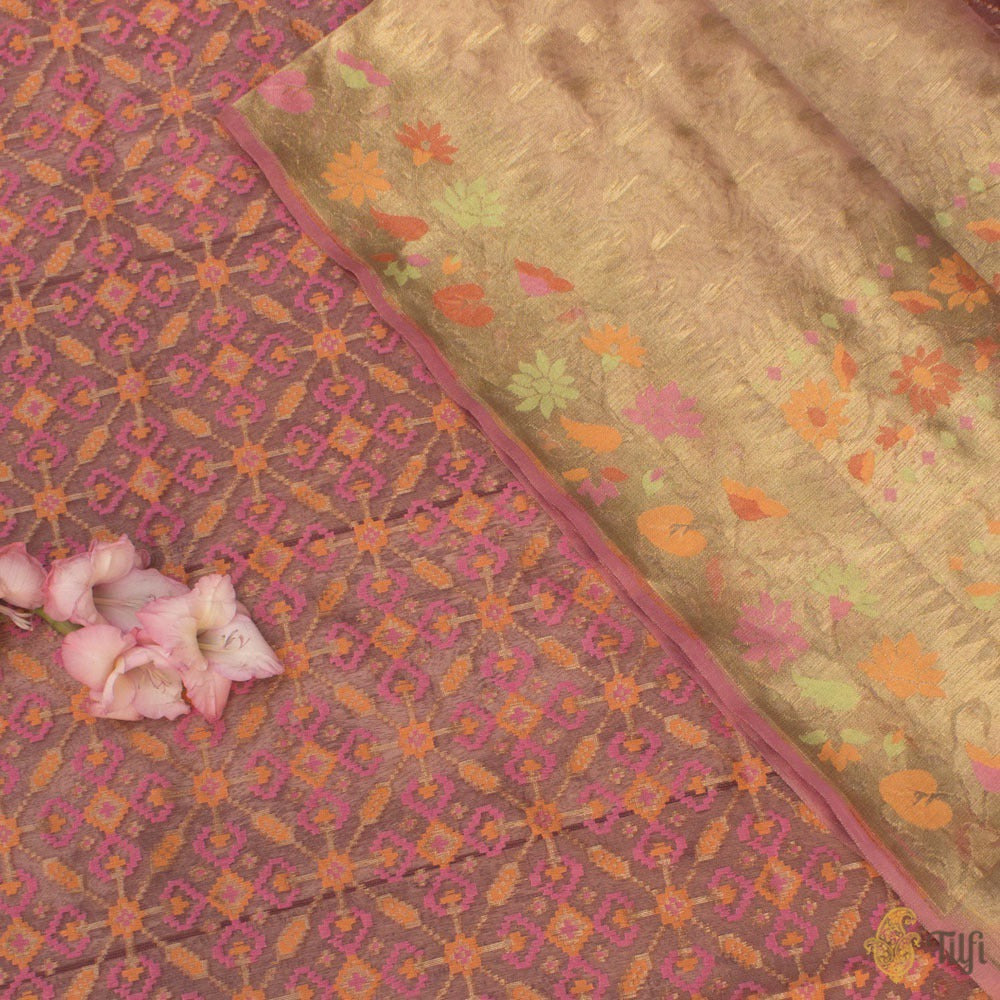 Gold Pure Kora Silk Tissue Net Dupatta & Pink Pure Kora Silk Net Fabric Set