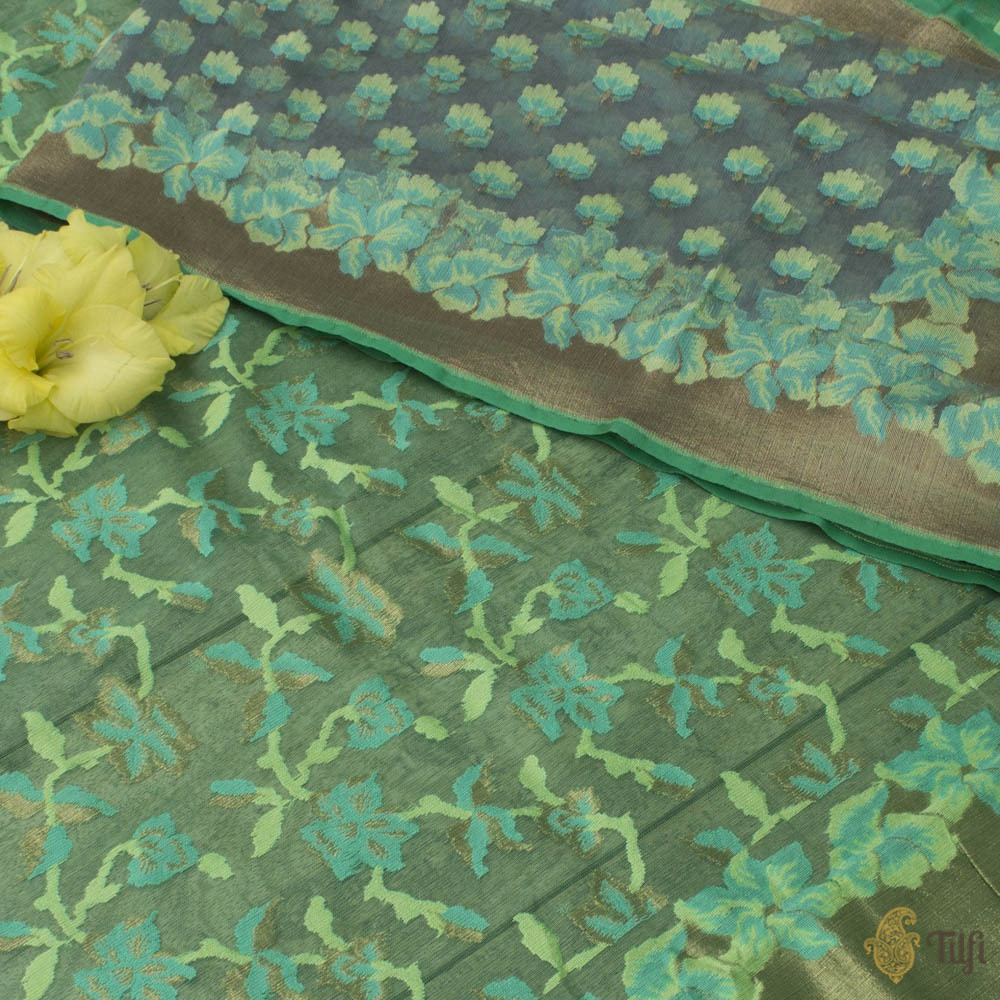 Blue-Grey Pure Kora Silk Net Dupatta & Sea Green Pure Kora Silk Net Fabric Set