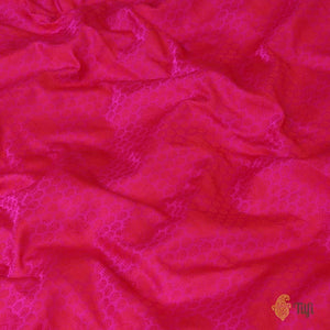 Cream Pure Katan Silk Dupatta & Rani Pink Pure Soft Satin Silk Fabric