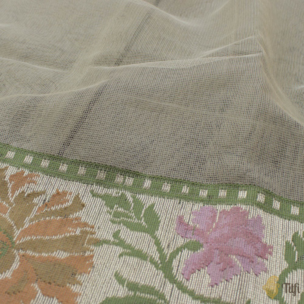 Grey Pure Kora Silk Net Dupatta & Grey Pure Kora Silk Net Fabric Set