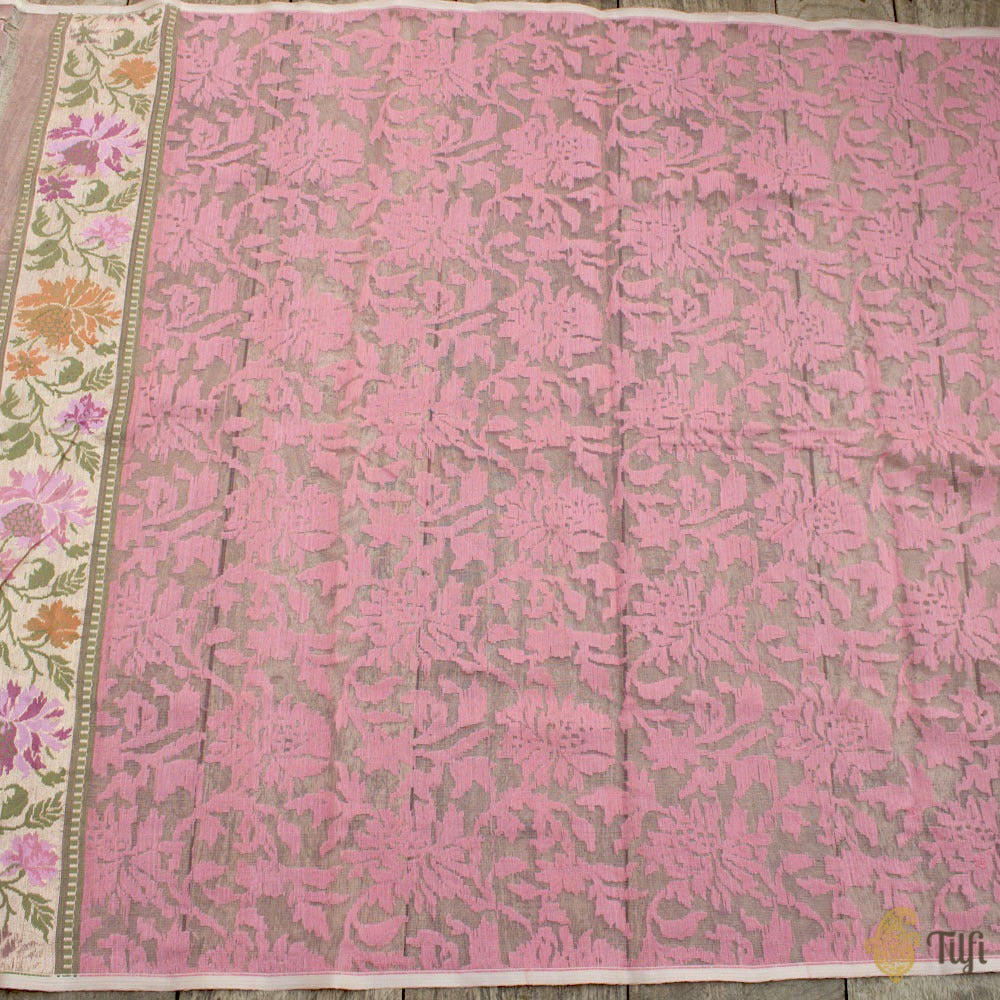Light Pink Pure Kora Silk Net Dupatta & Fabric Set