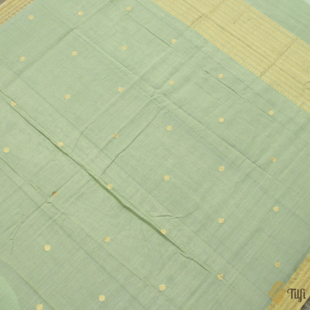 Sage Green-Pink Pure Soft Tussar by Cotton Dupatta & Fabric Set