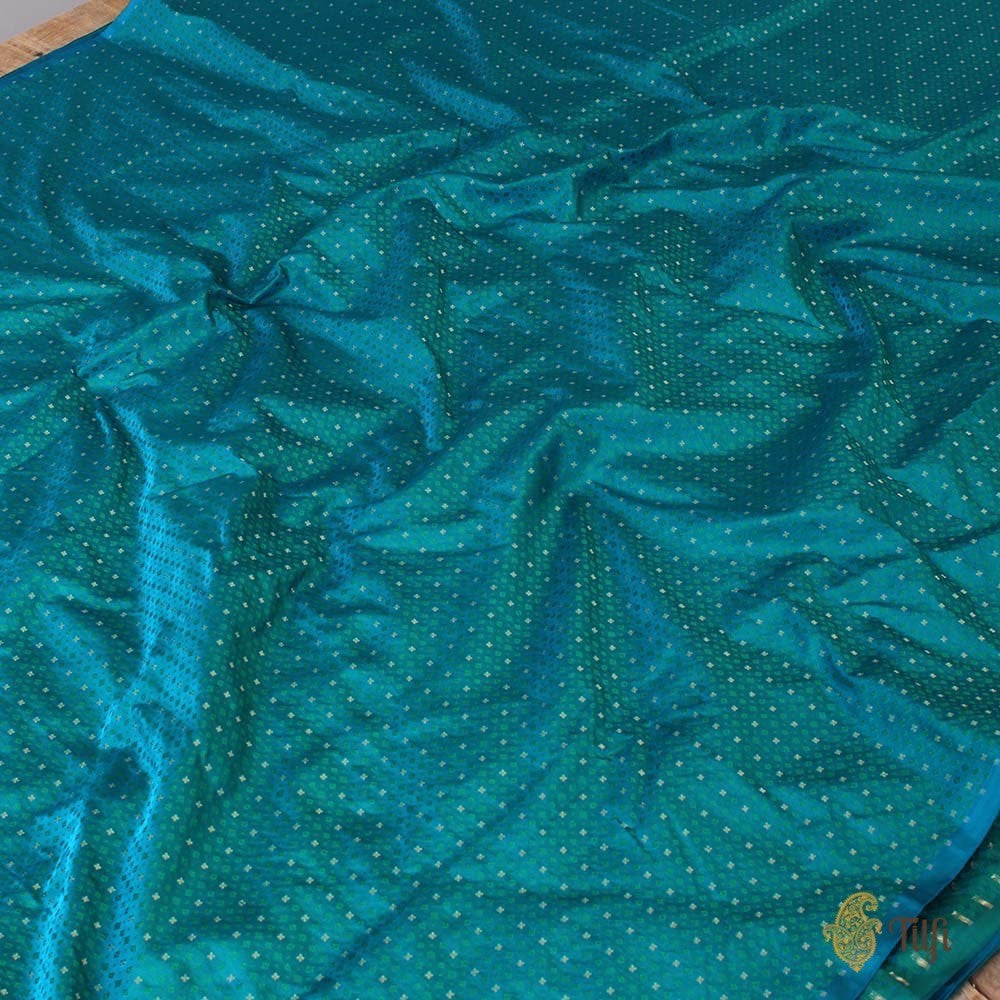 Black Pure Katan Silk Dupatta & Turquoise Blue Pure Soft Satin Silk Fabric
