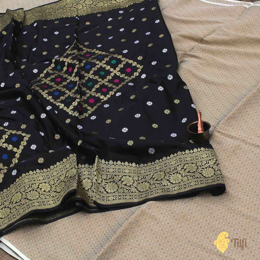 Black Pure Katan Silk Dupatta & Beige Pure Crepe Silk Brocade Fabric