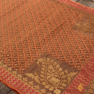 Orange Pure Kora Net Dupatta & Punch Pink Pure Dupion Silk Net Fabric Set
