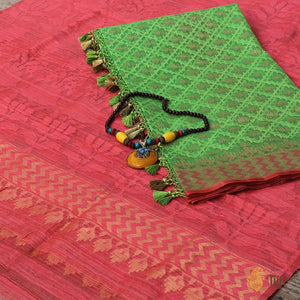 Green Pure Kora Net Dupatta & Punch Pink Pure Dupion Silk Net Fabric Set