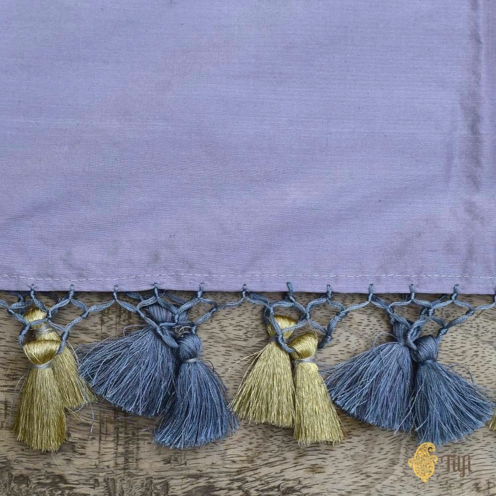 Grey Pure Katan Silk Dupatta & Navy Blue-Peacock Blue Katan Silk Fabric