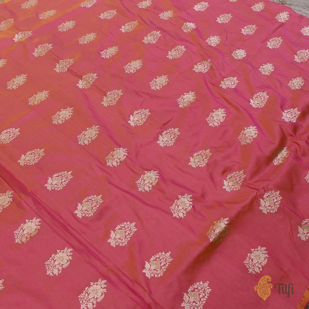 Black Pure Katan Silk Dupatta & Yellow-Gulabi Pink Pure Katan Silk Fabric