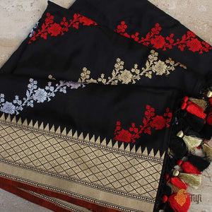 Black Pure Katan Silk Dupatta & Rust Orange Pure Katan Silk Fabric