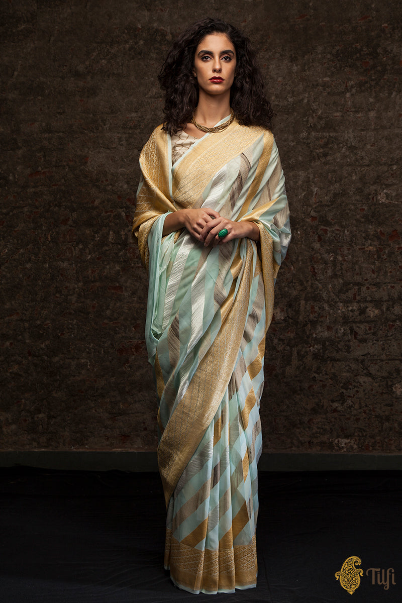 Pre-Order: Light Mint Green-Blue Ombré Pure Georgette Banarasi Handloom Saree