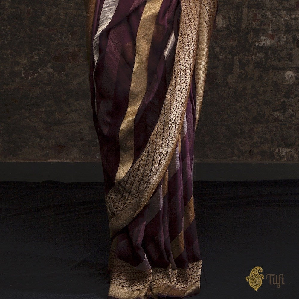 Mauve-Dark Purple Ombré Pure Georgette Banarasi Handloom Saree