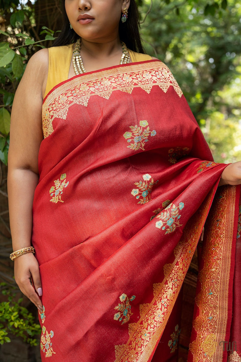 Pre-Order: Deep Red Pure Tussar Georgette Silk Banarasi Handloom Saree