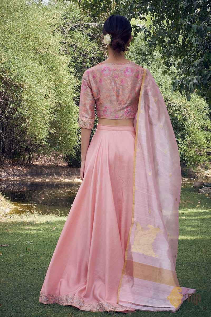 Peach-Pink Katan Silk Tissue Banarasi Blouse-Skirt Set