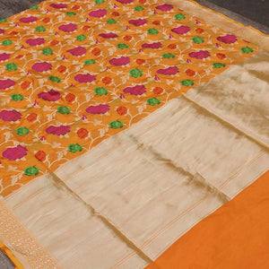 Gold-Orange Pure Katan Silk Banarasi Handloom Saree