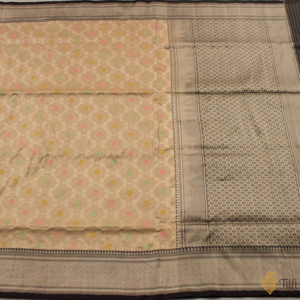 Beige-Black Pure Katan Silk Banarasi Handloom Saree